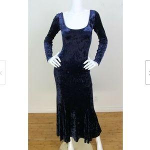 Betsey Johnson Vintage 90's Blue Velvet Maxi Dress